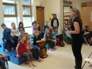 Lauri Lyster leads a percussion workshop