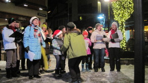 Members of the Whistler Children's Chorus, Whistler Singers, Our Lady of the Mountains Church, and Whistler Waldorf School sing Christmas Carols in Village Square.